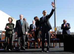 U.S. President Obama acknowledges the crowd after remarks at the Edmund Pettus Bridge in Selma